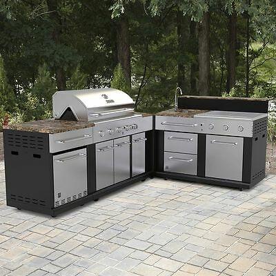 Huge Outdoor Kitchen Bbq Grill Sink Refrigerator Ice Box Trash Can Ebay Outdoor Kitchen Grill Modular Outdoor Kitchens Prefab Outdoor Kitchen