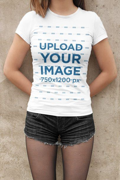 Placeit - T-Shirt Mockup of a Woman Wearing Short Shorts