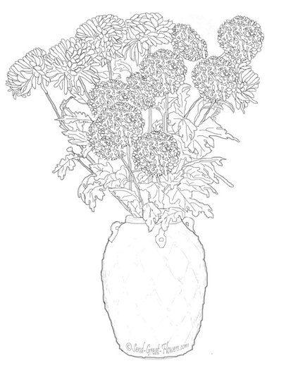 Crizanteme In Vaza Flori De Toamna Imagini De Colorat