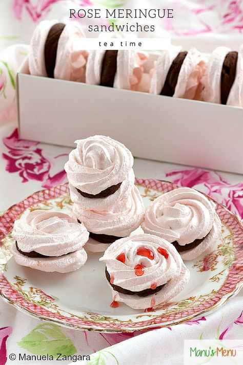 Rose Meringue Sandwiches - #rose shaped and flavoured #meringues sandwiched with deliciously silky whipped #chocolate #ganache.