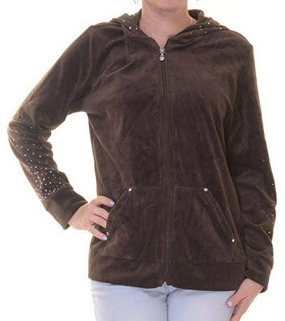 Style Co Womens Plus Velour Studded Hoodie Esspresso Brown Jackets For Women Clothes Velour Jackets