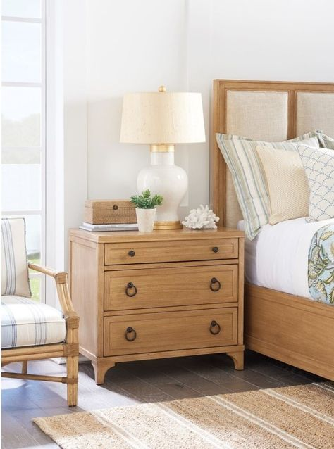 While classically tailored, this nightstand has a comfortable, modern vibe created by our inviting wood finishes. Quartered or cathedral-cut elm offer a beautiful base for our signature Sandstone and Sailcloth finishes. The nightstand offers three drawers for tucking away bedroom clutter. The drawers are full-extension and self-closing for easy, long lasting usability.