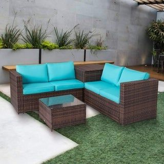 Kinbor 4 Piece Patio Furniture Set Rattan Wicker Sectional Sofa