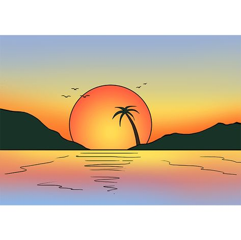 How To Draw A Sunset Really Easy Drawing Tutorial Drawing Sunset Summer Drawings Sunset Art