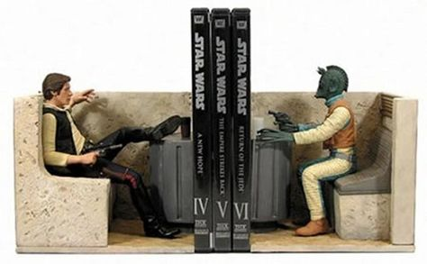 """Han Solo and Greedo Book ends, """"Han Shot First,"""" for the true Star Wars Geek, usually sold out at Amazon, but they come up from time to time at auction sites, average price has been about $500"""