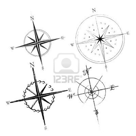 Compass rose. Lower right corner, with simpler script for the directions.