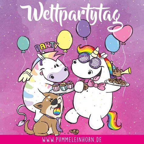 Schnappt Euch die Konfetti Kanone - heute ist Weltpartytag YEAH!   #pummeleinhorn #einhorn #unicorn #party #luftballons #konfetti #sprüche #fun #zebrasus #bisu #corgi
