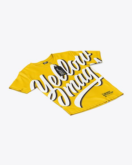 Download T Shirt With Label Mockup Half Side View In Apparel Mockups On Yellow Images Object Mockups Design Mockup Free Shirt Mockup Clothing Mockup