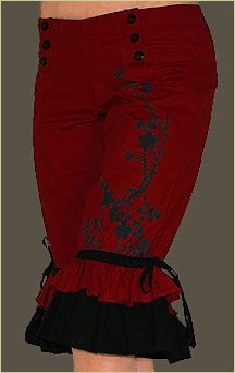 Classic Satin Bloomers Red Goth Burlesque Lolita