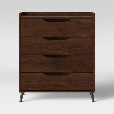 4 Drawer Modern Gallery Dresser Walnut Brown Room Essentials In 2020 Brown Rooms Walnut Dresser Room Essentials