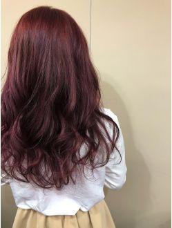 王道暖色系ダブルカラー チェリーレッド 可愛いヘア レッドヘア