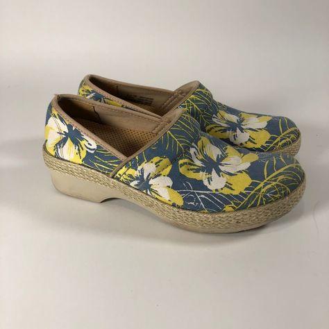 4233d8a08b5f Dansko Victoria Canvas Clogs Women 38 7.5-8 Floral Vegan Shoes Jute  Professional  fashion  clothing  shoes  accessories  womensshoes  flats  (ebay link)
