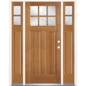 Simpson 1 4 Lite Clear Glass Left Hand Inswing Brown Wood Prehung Entry Door With Si Entry Door With Sidelights Entry Doors Front Doors With Windows