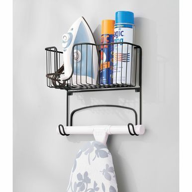 Mdesign Wall Mount Iron Ironing Board Holder Storage Basket
