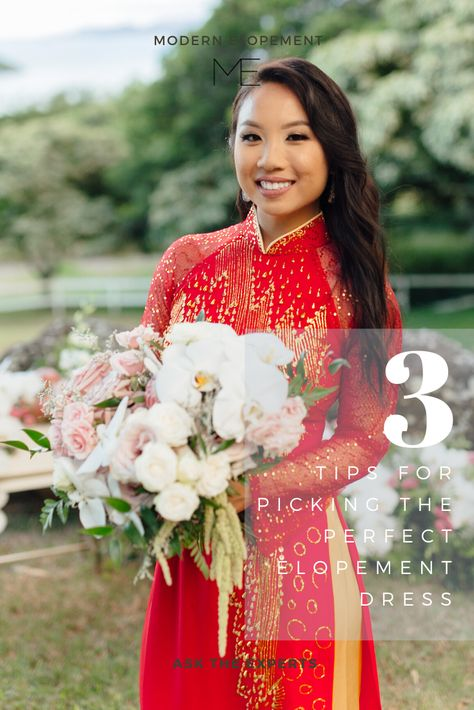 Picking your perfect dress is one of — if not THE most —  important decisions for all brides! Where do you even begin with cut and fabric and pattern? When picking your elopement dress here are three simple tips from the eloping experts. By Modern Elopement