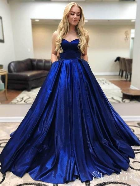 5a3a88c87182c Royal Blue Simple Quinceanera Dress Ball Gown Prom Dress with ...