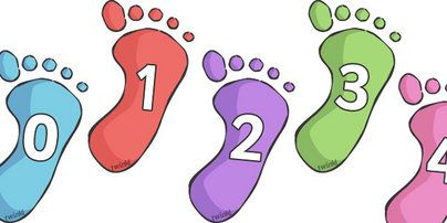 Here's a footprint themed number line with numbers from 0-30.