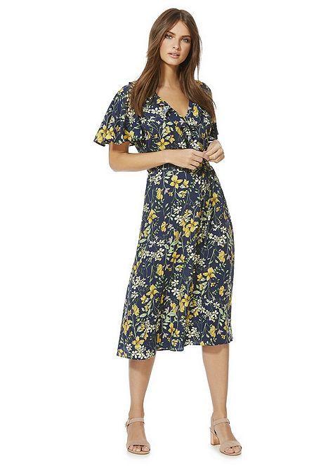 483f8f7315 F&F Floral Print Midi Wrap Dress | Tesco In Store | Fashion, Dresses ...