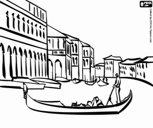 Canals And Gondolas Of Venice Coloring Page Gondola De Veneza