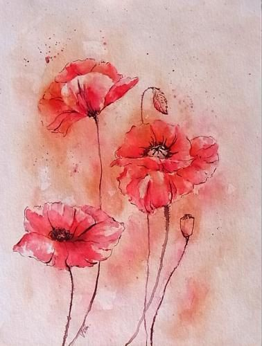 Aquarellbild Gemalt Watercolor Malerei Mohnblumen Mohn Etsy Floral Drawing Painting Art