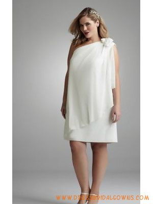 Plus Size Casual Short Ivory Chiffon Wedding Dresses
