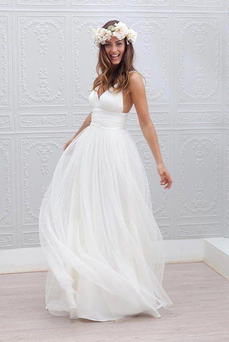Spaghetti Straps Bridal Gown Garden Wedding Beach Style 2017