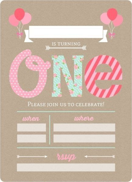 Baby Birthday Invitation Pink And Mint First Birthday Fill In The Blan Birthday Invitation Card Template 1st Birthday Invitations Birthday Invitation Templates