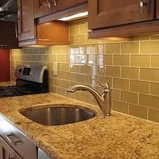 Kitchen Backsplash Glass Subway Tile light brown glass subway backsplash tile cabinet dark brown