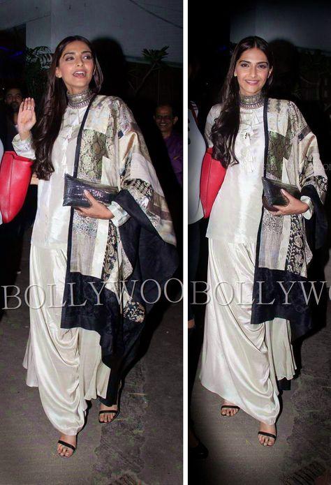 Sonam in Anamika Khanna's Blush Pink Dhoti-Palazzo suit