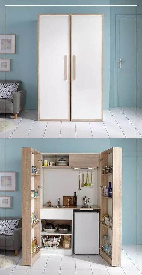 Micro Kitchen Hidden in a Cabinet Good idea for a sewing room, alterations made of course