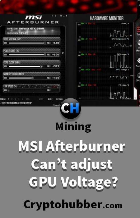 MSI Afterburner Can't adjust GPU Voltage? #mining #tutorials