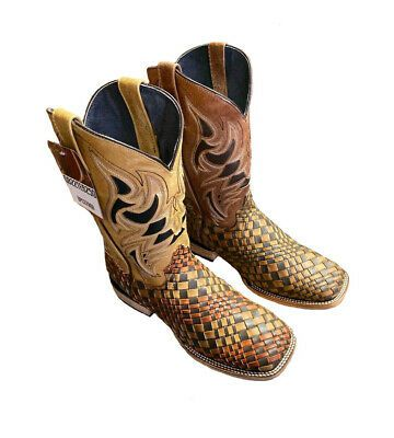 Kids Western Cowboy Boots Rodeo Stitched Classic Square Toe Brown Leather Bota