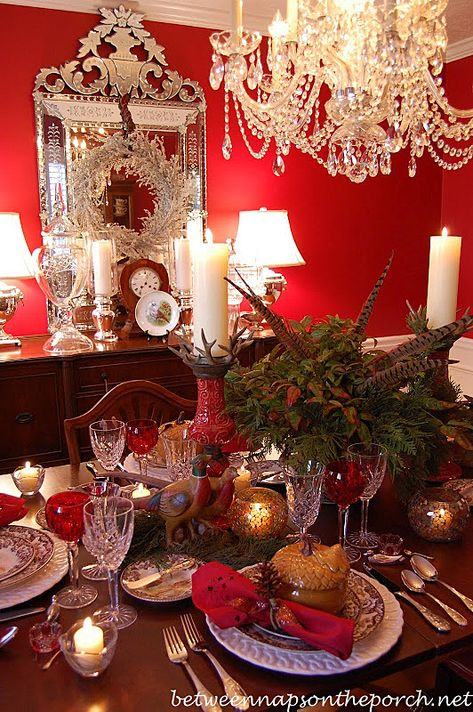Red Formal Dining Room, white beadboard/wainscotting on lower 1/3 of walls. Thanksgiving Table Setting in Red Dining Room