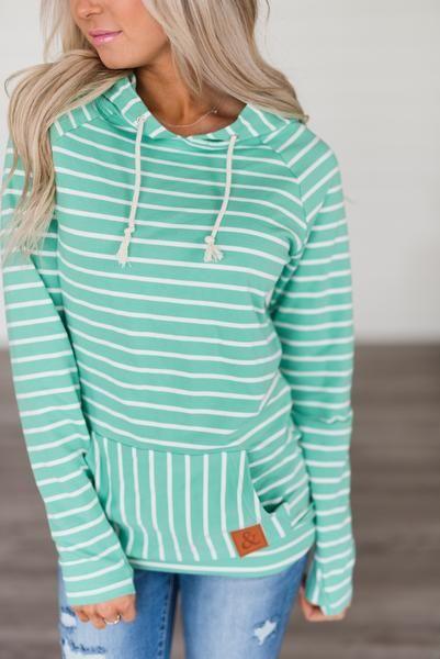 SingleHood Sweatshirt Green Stripe | MINDY MAE'S MARKET