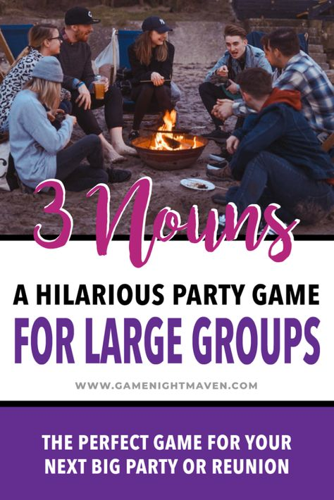 3 Nouns: A hilarious party game for large groups. This game is no fuss and can a.- 3 Nouns: A hilarious party game for large groups. This game is no fuss and can a… 3 Nouns: A hilarious party game for large groups. Games For Big Groups, Large Group Games, Youth Group Games, Games For Kids, Games To Play, Party Games For Tweens, Large Group Icebreakers, Games For Adults, Teenage Party Games