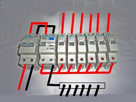 This Is How The Connections To Be Done Inside The Consumer Unit Red Denotes The Live Wires And Distribution Board Electrical Projects Basic Electrical Wiring
