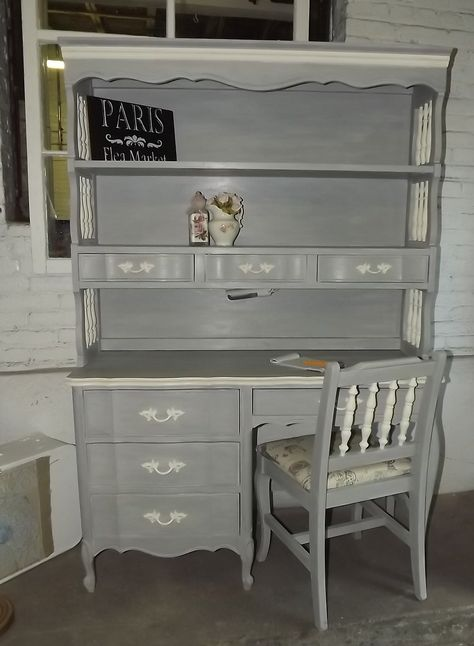 ASCP Paris Grey/Old White vintage desk/hutch. | Hand Made by Junque Chic |  Pinterest | Desk hutch, Paris grey and Desks - ASCP Paris Grey/Old White Vintage Desk/hutch. Hand Made By