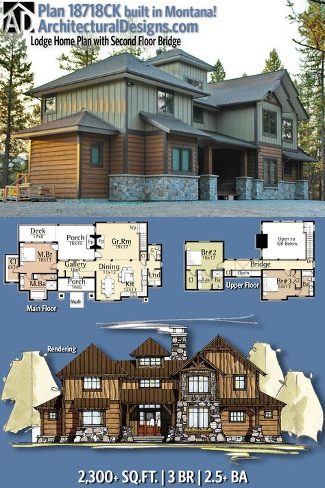 Plan 18718ck Lodge Home Plan With Second Floor Bridge House Plans Mountain House Plans House Layouts