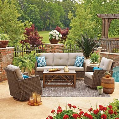 Member S Mark Agio Fremont Seating Set Dove Sam S Club Backyard Furniture Outdoor Seating Set Outdoor Furnishings