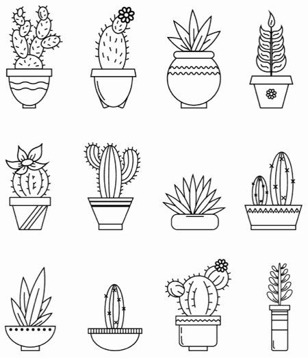Cute Cactus Coloring Page Unique Best Succulent Cactus Coloring Books Pages Cleverpedia Bullet Journal Plant Doodle Bullet Journal Doodles