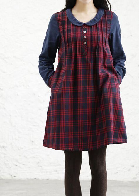 spring Doll collar Plaid Dress by MaLieb on Etsy