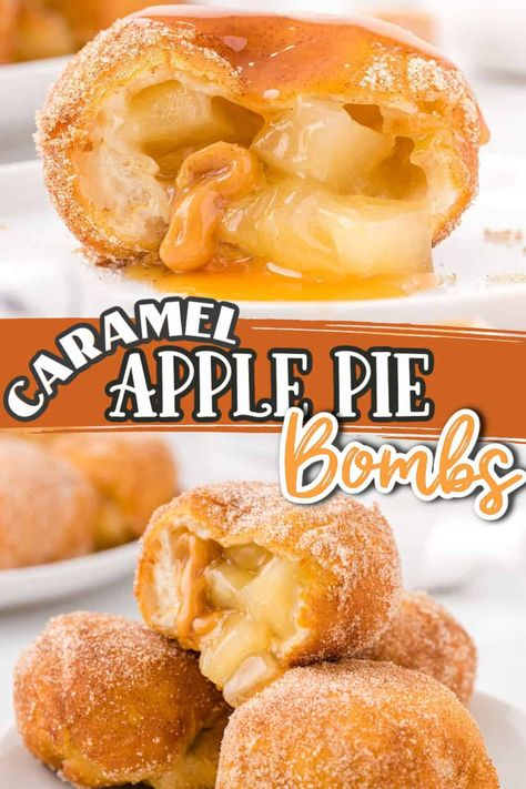 Say hello to the easiest apple pie dessert recipe you'll ever make! Apple Pie Bombs are made of soft biscuit balls that are oozing with warm apple pie filling and caramel and coated with cinnamon sugar. The best part...they are ready in less than 30 minutes.