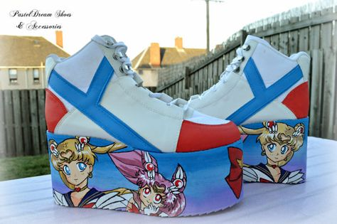 e2e0b1dac2f7 Hand painted sailor moon inspired platform flatform shoes trainers in uk  6 eur 39 or made to order fairy kei pastel goth