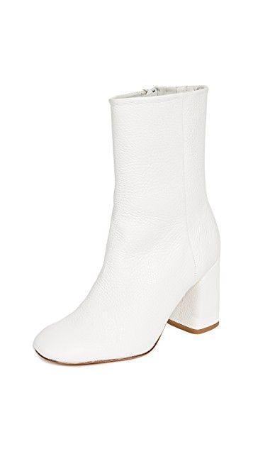 Miista Adrianne White Block Heel Boots