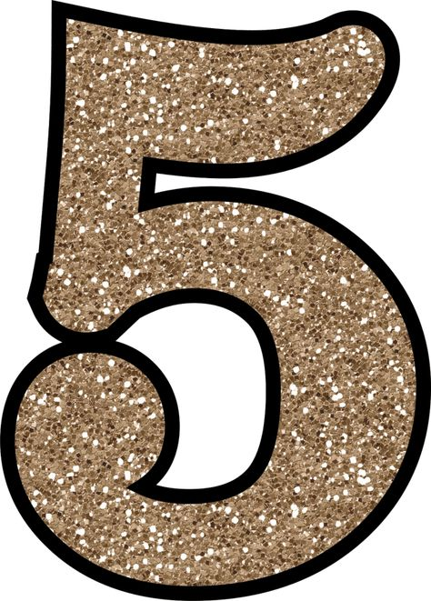 Glitter Without The Mess! Free Digital Printable Glitter Numbers 0 - 9: Glitter Number 5 To Print
