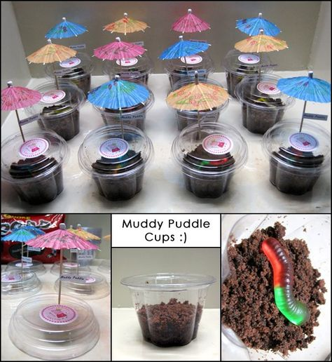 Peppa Pig birthday party food muddle puddle cups