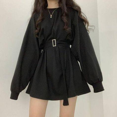 QWEEK Casual Gray Streetwear Sweatshirt Women Spring Autumn 2021 Korean Fashion Long Sleeve Loose Slim Gothic Goth Top Belt - Black / S