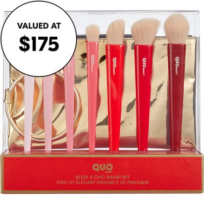 Quo Sleek Chic Brush Set Inspired By Holiday Fashion And Bold Red Lips This Limited Edition Brush Set Was Designed To Ma In 2020 Brush Set Beauty Brushes Brush Kit