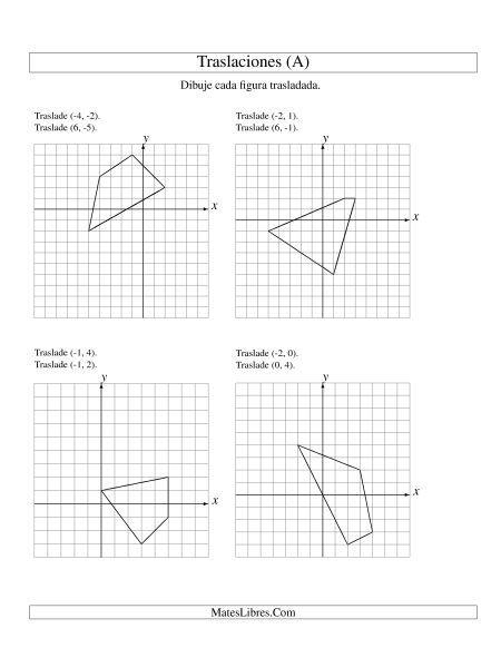 Traslación En Dos Pasos De 4 Vertices Por Hasta 6 Unidades Hojas De Ejercicios De Geometría Hojas De Trabajo De Matemáticas Traslacion Geometria