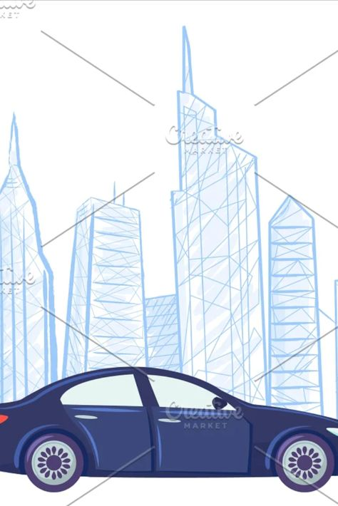 Car Cityscape Drawing Sketch